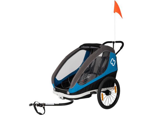 Hamax Traveller Bike Trailer incl. Bicycle Arm & Stroller Wheel blue/grey